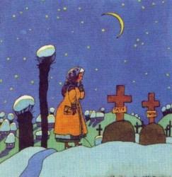 Казка про дівчину Марусю, чорта в червоних чоботях, чорну церкву та чарівну квітку